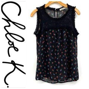 💕SALE💕 Chloe K Black Sheer Floral Sleeveless Top